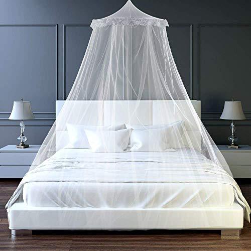 Mosquitera para Cama, Esquinas Adecuado para Cama Individual o Matrimonio Anti mosquitos para el Hogar o de Vacaciones - Blanca