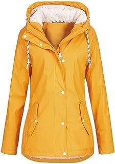 PAQOZ Women's Coat, Solid Rain Jacket Outdoor Hoodie Waterproof Overcoat Lady Windproof Outerwear