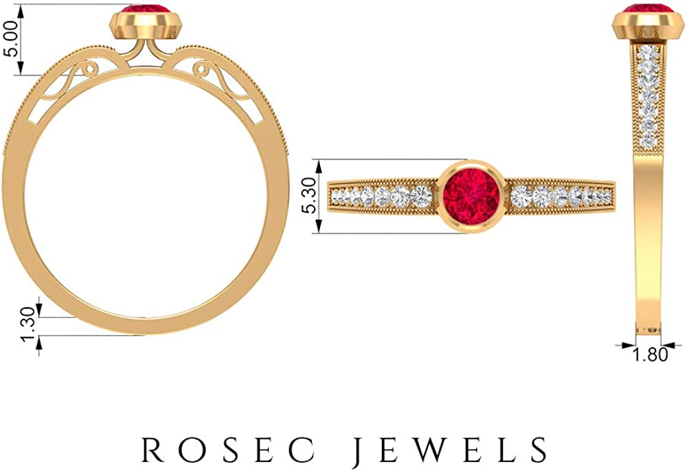 Ruby Solitaire Ring 0.34 CT, HI-SI Diamond Engagement Ring 0.15 CT, Gold Beaded Engraved Ring (4 MM Round Shaped Ruby), 14K Gold