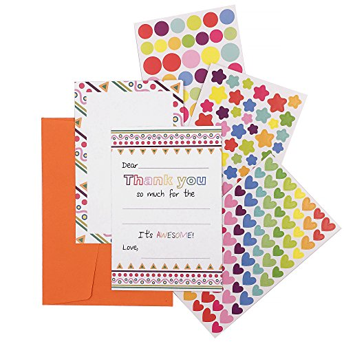 15 Fill In The Blank Thank You Notes Envelopes DIY Sticker Art No Mess Card Making Kit for Kids