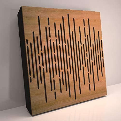 (4 Pack) Sound Absorption-Diffuse Acoustic Panel «Wave» for rec.studio | Wood laminated: (Oak)
