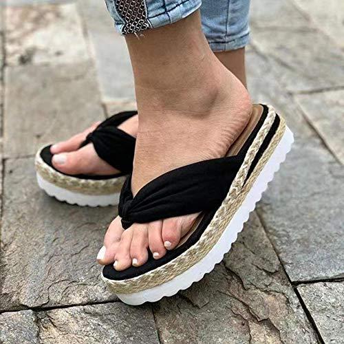 Zapatillas de Cuña con Plataforma Sandalias para Mujer Zapatos,Negro,41