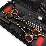 ZLININ Y-Longhair 5.5 Inch Single Tail Tijeras de peluquería Conjunto, Galvanizado Negro Tijeras de peluquería Conjunto (Color: Negro)