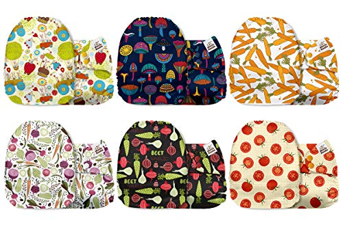 Mama Koala One Size Baby Washable Reusable Pocket Cloth Diapers, 6 Pack Nappies with 6 One Size Microfiber Inserts (Happy Harvest)