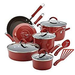 Best cookware sets 2017-Great Offer 60% Off Now For Limited Time-Rachael Ray Cucina Cookware Set, 12-Piece, Cranberry Red