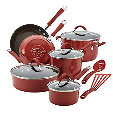Rachael Ray 16339 Cucina Nonstick Cookware Pots and Pans Set, 12 Piece, Cranberry Red