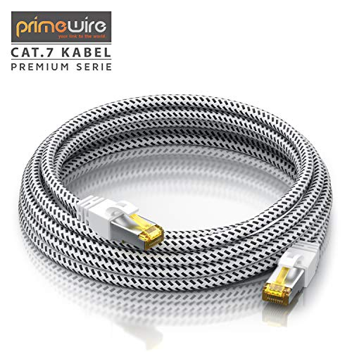 CSL - 0,5m Cat 7 Netzwerkkabel Gigabit Ethernet LAN Kabel - Baumwollmantel - 10000 Mbit S - Patchkabel - Cat.7 Rohkabel S FTP Pimf Schirmung mit RJ 45 Stecker - Switch Router Modem Access Point