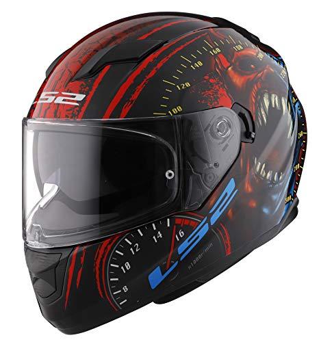 LS2 Stream Casco de motocicleta sólido de cara completa con parasol, Speed Demon, Pequeño