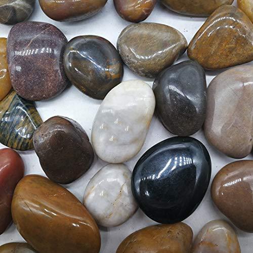 Bolsa de 1 kg Piedras Decorativas pequeñas de Colores Naturales, guijarros de Grava Pulida,para decoración de Mesa, macetas, jarrones, Jardines, Bodas, acuarios y más