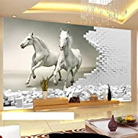 HGFHGD 3D壁画壁紙三次元ホワイトホースレンガ壁アート壁画リビングルーム寝室の背景壁ステッカー壁アート装飾