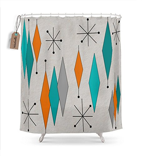 Vandarllin Mid-Century Modern Diamond Pattern Shower Curtain, Stall Size 54 x 78, 1950s Retro Geometric Resistant Waterproof Decorations Bathroom Curtains ,Multicolor