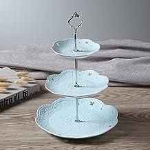 Etagere mit 3 Etagen, florales Design, Keramik, mit mateltem