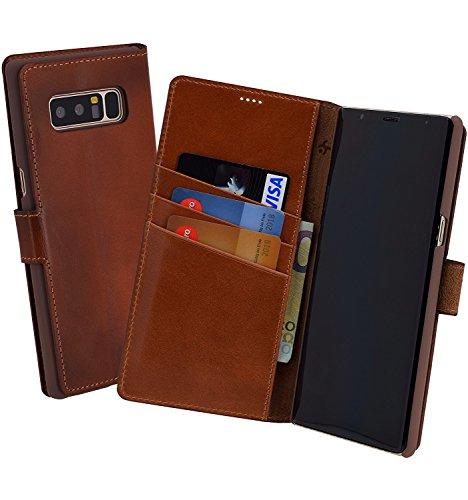 Suncase Book-Style (Slim-Fit) für Samsung Galaxy Note 8 Ledertasche Leder Tasche Handytasche Schutzhülle Hülle Hülle (mit Standfunktion & Kartenfach) Burned - Cognac