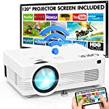 Projecteur WiFi QKK 1080P Full HD Soutien, 120' Grand Écran-Projection Compris, 6000 Lumens Mini Rétroprojecteur sans Fil Portable, Compatible HDMI USB VGA AV TF, Projecteur Home Cinéma.