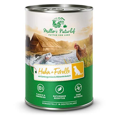 Müllers Naturhof | Huhn und Forelle | 6 x 400 g | Nassfutter für alle Hunderassen | getreidefrei und glutenfrei | mit Gartengemüse und Wiesenkräutern | naturnahe Rezeptur mit 65% Fleisch und Fisch