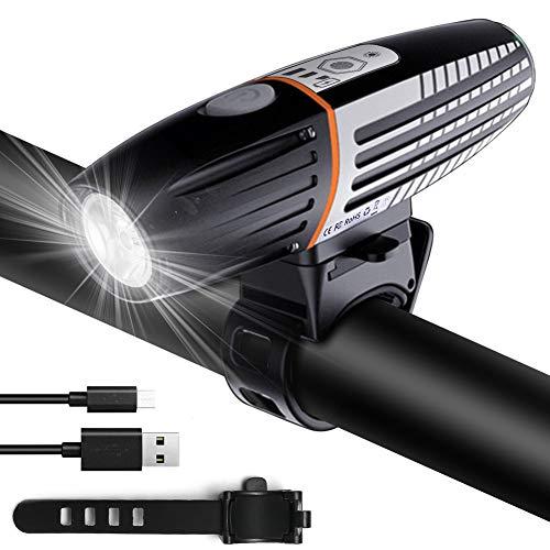 Bigmeda Fahrradlicht, USB Wiederaufladbare Fahrradbeleuchtung Fahrradlicht Vorne, IPX6 Wasserdicht Fahrradlichter Fahrrad Licht Fahrradlampe mit 2 Licht-Modi und 2200mAh Li-ion Akku
