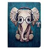 Bspring Funda para Samsung Galaxy Tab 3 10.1 (GT-P5200/P5210/P5220) Carcasa Piel Premium PU Cuero Sintético Funda con Tapa Ultra Slim Flip Libro Cover Carcasa, Elefante