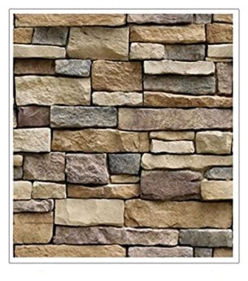 Ocaler Modern Brick Pattern Self-adhesive Wall Sticker Vinyl Removable Contact Paper Wallpaper-17.7x39 Inches
