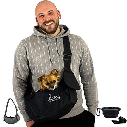 dainz® NEU! Hunde-Tragetasche/Hundetasche für kleine Hunde & Katzen bis ca. 3kg inkl. Anschnallgurt & Zubehör | Hunde-Tragetuch für kranke & alte Hunde | Welpen-Tasche für langes Gassi gehen