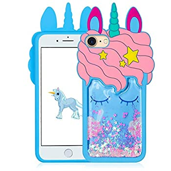 Joyleop Blue Quicksand Unicorn Case for iPhone 5/5S/5C Animal Shiny Bling 3D Cartoon Silicone Cute Fun Cover 3D Kawaii Unique Girls Boys Women Cases Funny Character Design for iPhone 5/5S/5C 4.0