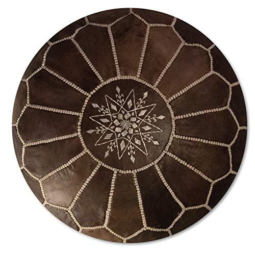 Poufs&Pillows Marokkanischer Echtleder Pouf - Handgefertigt - Gefüllt geliefert - Ottoman, Sitzsack, Fußhocker (Holz Braun)
