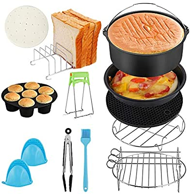 Air Fryer Accessories,Set of 12 Fit all 3.5Qt - 6.8Qt Air Fryer Compatible for Philips Air Fryer, COSORI and other Square Air Fryers and Oven(7 inch/Set of 12)