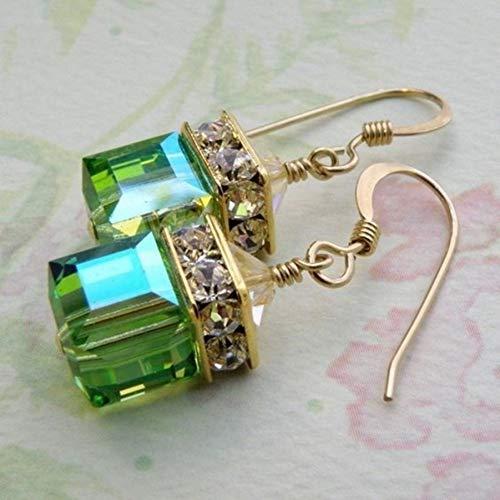 EARWQ Fashion Silver/Gold Color Purple Zircon Stone Earring Elegant Women Girls Cubic Zirconia Pierced Drop Dangle Earrings