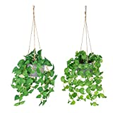 Fake Plants Artificial Hanging Plants Fake Eucalyptus Plants Potted 2 Pack Greenery Vines in Simple Cement Pot for Home Indoor Outdoor Decor