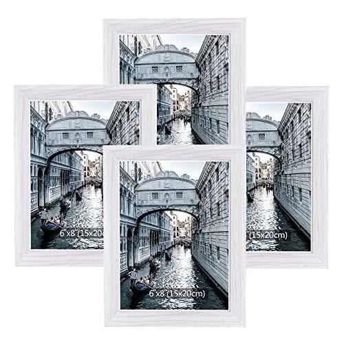 Metrekey Bilderrahmen 15x20 cm 4er Set Holz Weiß Vintage Glas Fotorahmen Portraitrahmen mit Halterung und Haken für Tischplatte und Wanddekoration…