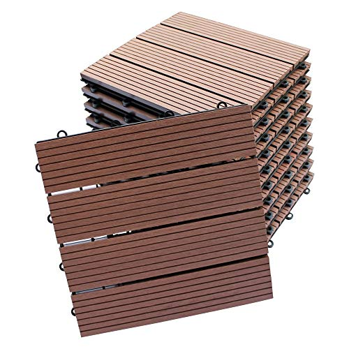 Top-Multi WPC Holz Fliese 30x30cm Light Brown 1m² (1m²=11 Fliesen)