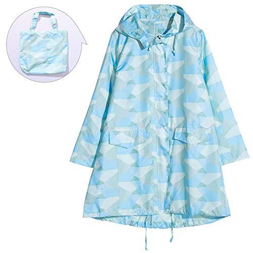 CaoDquan Fietsen Regenjas Vrouwen Mode Mantel Wandelen Geometrische Patroon Regenjas Regenwater Tassen Twee Kleuren Maat M Multifunctionele Licht Regenjas