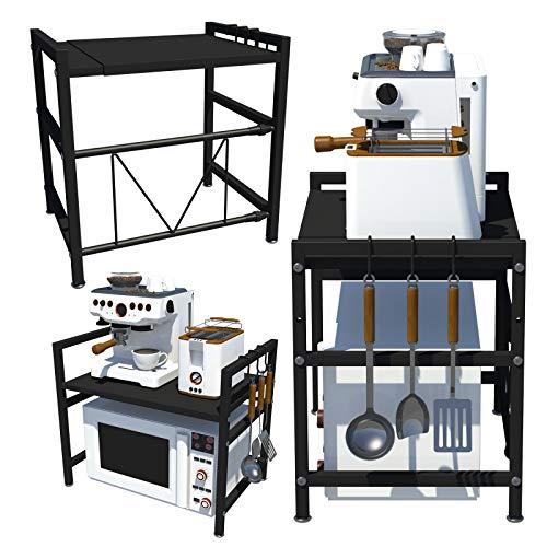 Uitschuifbare Magnetron Oven Rack 2-Tier, Keukenrek Stand Oven Organizer Unit-Printer Plank Faxrek Zwart 45-65cmx36cmx46…