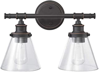 Globe Electric Parker 2 Vanity Light, Oil Rubbed Bronze, Clear Glass Shades 51444, 11
