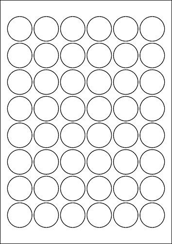 240 Etiketten selbstklebend rund 30 mm WEISS permanent klebend auf A4 Bogen (5 Bögen x 48 Etik.)