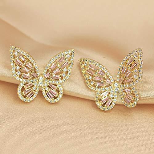 LIEQUAN S925 aretes de Aguja de Plata Pendientes de Mariposa con Micro Incrustaciones de circón Femenino Temperamento de Personalidad de Moda Femenina(Palillo de Polvo Dorado)