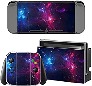 Decal Moments Nintendo Switch Console Vinyl Skin Decal Stickers for Nintendo Switch Dock Joy Con Skin Purple Galaxy
