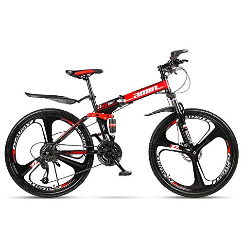 Bike Folding Mountain High Carbon Steel Frame 26 Inches/24 Speed Variable Speed Double Shock Absorption Three Cutter Wheel Foldable Bicycle Adult Racing Car Off-road Unisex