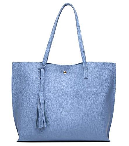 Women's Soft Faux Leather Tote Shoulder Bag from Dreubea, Big Capacity Tassel Handbag Blue