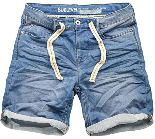Sublevel Herren Sweat Jeans Shorts Kurze Hose Bermuda Sommer Sweathose Slim [B580-Ice-Blau-W32]