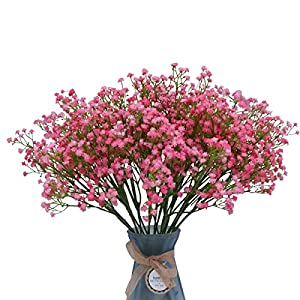 10 Pcs Baby Breath Artificial Flowers, Fake Gypsophila Bouquets, Real Touch Fake Flowers for Indoor Outdoor Wedding Decor DIY Home Party