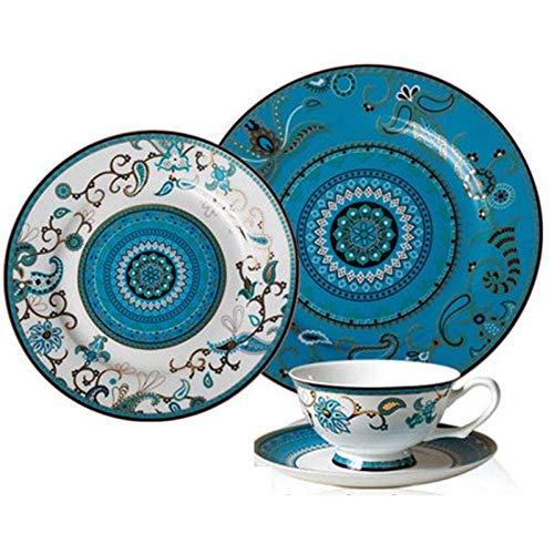 DJY-JY Platos de cena de porcelana de hueso de grado vajilla estilo occidental platos de carne plato de postre pintado a mano oro servicio de cena