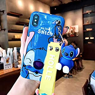 Twinlight Cute Stitch Pooh Pig Mickey Minnie Mouse Hello Kitty Phone Cases for iPhone 7 8 Plus XS MAX XR X Cartoon Case+ Toy +Strap (Style6, for iPhone X XS)