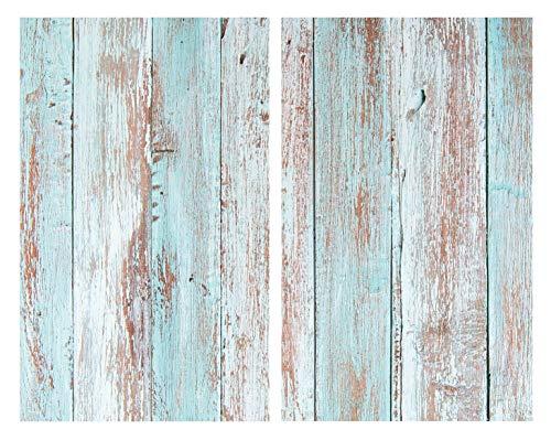 Allstar Glasabdeckplatten Blue Wood 2er Set - 2er Set, Kochplattenabdeckung für Glaskeramik-Kochfelder, Gehärtetes Glas, 30 x 0.8 x 52 cm, Mehrfarbig