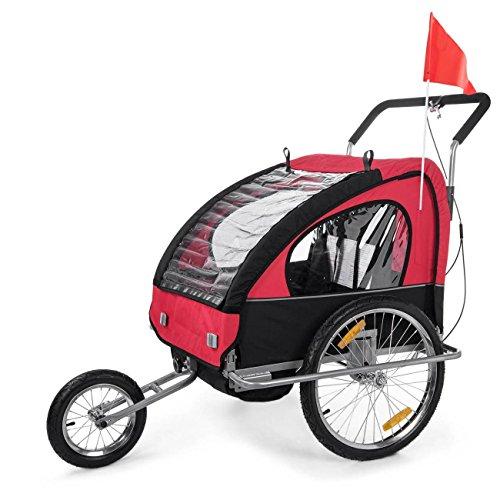 SAMAX Remorque Vélo convertible Jogger 2en1 en Rouge/Noir -...