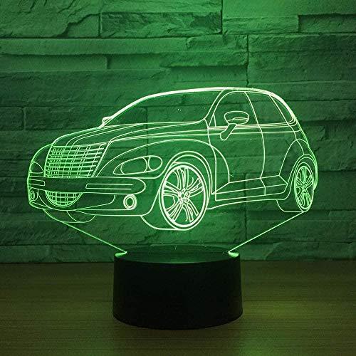 ZWANDP 3D-Nachtlampe am Bettwagen befestigt Kreative USB-Touch-Fernbedienung Personalisierte USB-Lichtlampen Lichtraum-Illusionsgeschenk Geburtstag Dekor Acryl-LED-Lampe