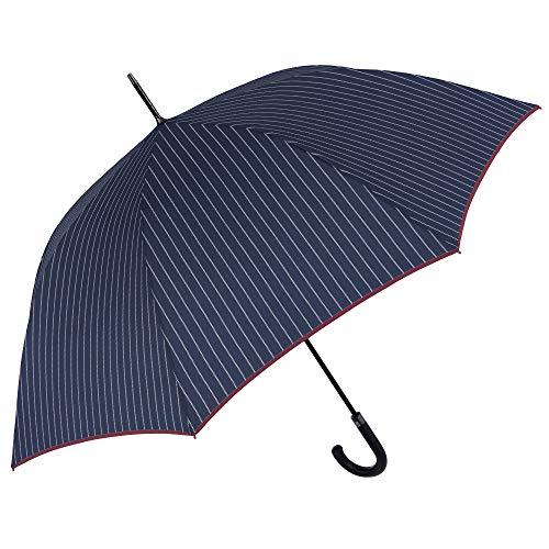 Ombrello Lungo Golf Uomo - Grande Classico Gessato a Righe con Bordo Bordeaux - Antivento Resistente Robusto in Fibra di Vetro - Apertura Automatica - PFC FREE - Diametro 120 cm - Perletti (Blu)