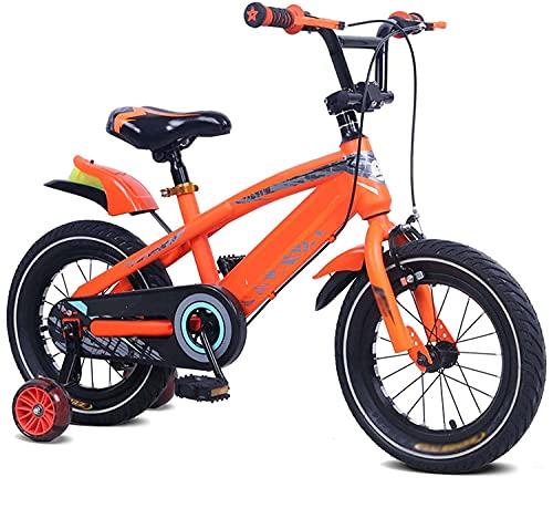 HUAQINEI Bicicletas Infantiles para niños y niñas con Ruedas Intermitentes de 3 a 8 años con Guardabarros Intermitente Musical, 14