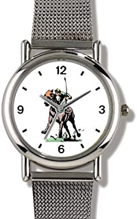 Thoroughbred Racehorse and Jockey Driving Down the Stretch Horse - WATCHBUDDY ELITE Chrome-Plated Metal Alloy Watch with Metal Mesh Strap-Size-Small ( Children's Size - Boy's Size & Girl's Size )