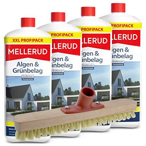 Mellerud 4er Pack Algen und Grünbelag Entferner (4 x 2 Liter) inkl. Schrubber