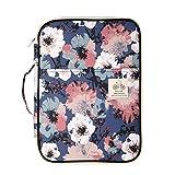 Jakago - Carpeta portadocumentos portátil (A4, impermeable, con cremallera, con asas, para viajes, reuniones, negocios, oficinas, vacaciones), color Flower